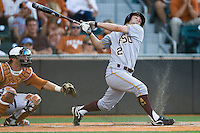 Arizona State Sun Devil second baseman Zach McPhee #2 swings and misses against the Texas Longhorns in NCAA Tournament Super Regional baseball on June 10, 2011 at Disch Falk Field in Austin, Texas. (Photo by Andrew Woolley / Four Seam Images)
