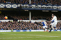 Gylfi Sigurdsson scores from the penalty spot during the Barclays Premier League match between Everton and Swansea City played at Goodison Park, Liverpool. 0-1