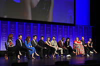 """HOLLYWOOD, CA - MARCH 24: Moderator Kristin Dos Santos, Creator/Executive Producer Dan Fogelman, Executive Producers Elizabeth Berger and Isaac Aptaker, and actors Milo Ventimiglia, Mandy Moore, Jon Huertas, Sterling K. Brown, Susan Kelechi Watson, Chrissy Metz, Justin Hartley, and Melanie Liburd attend PaleyFest 2019 for 20th Century Fox Television's """"This is Us"""" at the Dolby Theatre on March 24, 2019 in Hollywood, California. (Photo by Frank Micelotta/20th Century Fox Television/PictureGroup)"""