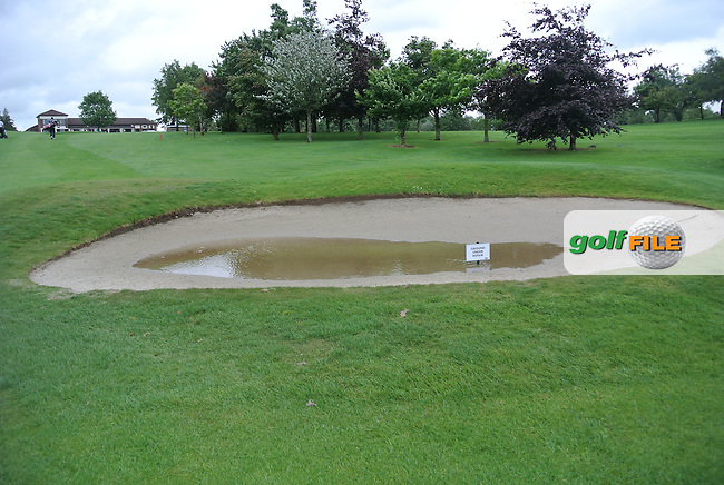 A wet bunker after the heavy rains during round 1 of The Mullingar Scratch Cup in Mullingar Golf Club on Sunday 3rd August 2014.<br /> Picture:  Thos Caffrey / www.golffile.ie