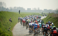 "peloton over the Holleweg (""Hollow Way"") cobbles<br /> <br /> 57th E3 Harelbeke 2014"