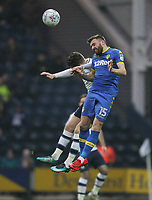 Preston North End's Alan Browne jumps with Leeds United's Stuart Dallas<br /> <br /> Photographer Mick Walker/CameraSport<br /> <br /> The EFL Sky Bet Championship - Preston North End v Leeds United - Tuesday 10th April 2018 - Deepdale Stadium - Preston<br /> <br /> World Copyright &copy; 2018 CameraSport. All rights reserved. 43 Linden Ave. Countesthorpe. Leicester. England. LE8 5PG - Tel: +44 (0) 116 277 4147 - admin@camerasport.com - www.camerasport.com