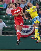 Flash defender Whitney Engen #23 and Independence\'s Tasha Kai #00 gor for the ball during a June 12th match in Rochester, NY. Independence won 1-0