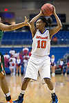 Texas Arlington Mavericks forward Krioni Bruce (10) in action during the game between the Texas Pan American Lady Broncs  and the Texas Arlington Mavericks at the College Park Center arena in Arlington, Texas. UTPA defeats UTA 59 to 57....