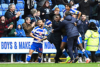 Yakou Meite of Reading celebrates with the bench after scoring the third and winning goal  during Reading vs Wigan Athletic, Sky Bet EFL Championship Football at the Madejski Stadium on 9th March 2019