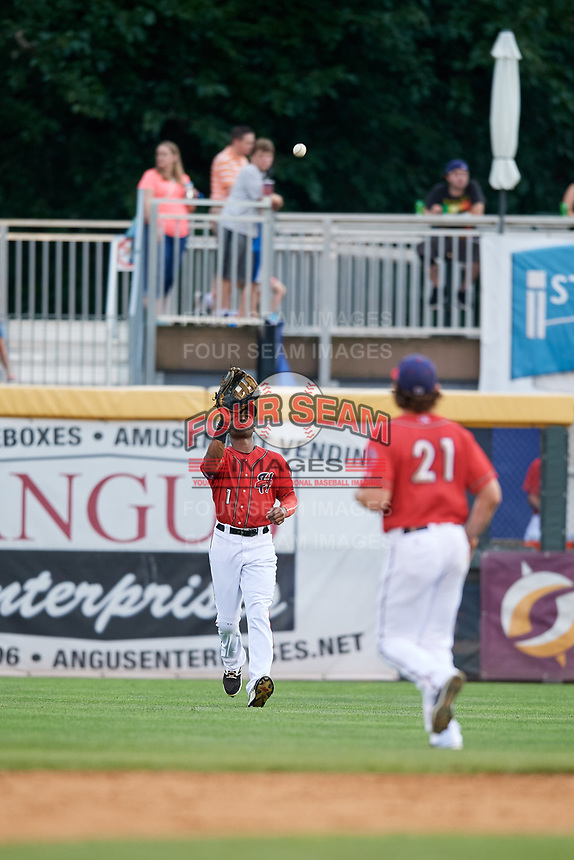 Harrisburg Senators right fielder Zach Collier (1) settles under a fly ball during a game against the Akron RubberDucks on August 18, 2018 at FNB Field in Harrisburg, Pennsylvania.  Akron defeated Harrisburg 5-1.  (Mike Janes/Four Seam Images)