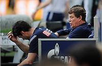 FUSSBALL   1. BUNDESLIGA   SAISON 2011/2012   33. SPIELTAG FC Schalke 04 - Hertha BSC Berlin                         28.04.2012 Trainer Otto Rehhagel und Co-Trainer Rene Tretschock (v.r., beide Berlin) sind enttaeuscht