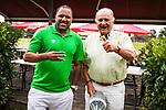 im Bild: vl. Ailton (Deutscher Meister 2003 / 2004 mit Werder Bremen) und Jürgen L. Born (ehemaliger Vorsitzender des Vorstandes Werder Bremen) schauen sich das Spiel am Sportplatz Henschenbusch BTV an, <br /><br /><br />Sport: nphgm001: Fussball: 1. Bundesliga: Saison 19/20: 34. Spieltag: SV Werder Bremen vs 1.FC Koeln 27.06.2020 <br /><br />Foto: Rauch/gumzmedia/nordphoto<br /><br />EDITORIAL USE ONLY