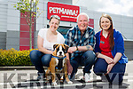 """l-r  Betty O'Sullivan Halpin and James Halpin with """" Junior"""" the celebrity puppy who is representing Petmania Tralee in the finals of Petmania Puppy Of The Year 2016 on Saturday in Navan, also in the picture is Claire Flahive Assistant Manager Petmania, Tralee."""