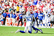 Landover, MD - September 16, 2018: Washington Redskins tight end Vernon Davis (85) is tackled by Indianapolis Colts linebacker Darius Leonard (53) during game between the Indianapolis Colts and the Washington Redskins at FedEx Field in Landover, MD. The Colts defeated the Redskins 21-9.(Photo by Phillip Peters/Media Images International)