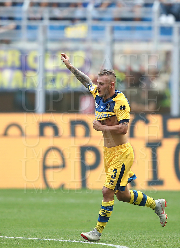 Calcio, Serie A: Inter Milano-Parma, Giuseppe Meazza stadium, September 15, 2018.<br /> Parma's Federico Dimarco celebrates after scoring during the Italian Serie A football match between Inter and Parma at Giuseppe Meazza (San Siro) stadium, September 15, 2018.<br /> UPDATE IMAGES PRESS/Isabella Bonotto