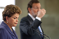 Brazil's president Dilma Rousseff and Mariano Rajoy, answers to reporters at Moncloa