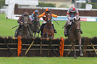 Winner of The Heart Turn Up The Feel Good Mares' Novices' Hurdle Penny Mallow (r) ridden by Daryl Jacob and trained by Venetia Williams during Horse Racing at Plumpton Racecourse on 4th November 2019