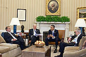 United States President Barack Obama and Vice President Joe Biden meet with U.S. House Speaker John Boehner (Republican of Ohio), left, and U.S. Senate Majority Leader Harry Reid (Democrat of Nevada) in the Oval Office to discuss ongoing budget negotiations on a funding bill, April 7, 2011. .Mandatory Credit: Pete Souza - White House via CNP