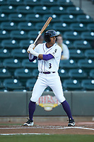 Joel Booker (3) of the Winston-Salem Dash at bat against the Salem Red Sox at BB&T Ballpark on April 20, 2018 in Winston-Salem, North Carolina.  The Red Sox defeated the Dash 10-3.  (Brian Westerholt/Four Seam Images)