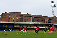 Fleetwood Town FC warm up during the Sky Bet League 1 match between Southend United and Fleetwood Town at Roots Hall, Southend, England on 13 January 2018. Photo by Carlton Myrie.