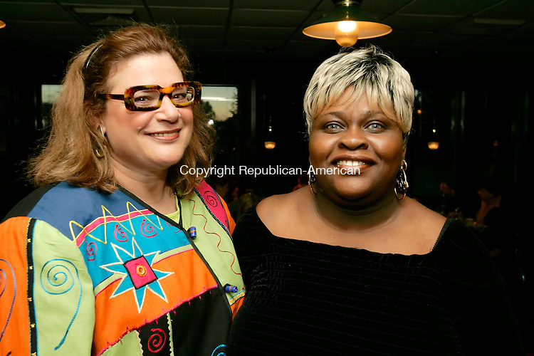 WATERBURY, CT - 20 OCTOBER 2005 -102005JS13- Marie Ponzillo-Travisano and Joyce Reid of Waterbury at the Central Naugatuck Valley Help, Inc., 35th anniversary dinner Thursday at The Hills Restaurant at Western Hills Golf Course in Waterbury. --Jim Shannon Republican-American--Marie Ponzillo-Travisano,  Joyce Reid,Central Naugatuck Valley Help; Inc.; Western Hills Golf Course; Waterbury are CQ