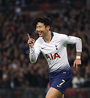 Tottenham Hotspur's Son Heung-Min celebrates scoring his side's third goal <br /> <br /> Photographer Rob Newell/CameraSport<br /> <br /> The Premier League - Tottenham Hotspur v Southampton - Wednesday 5th December 2018 - Wembley Stadium - London<br /> <br /> World Copyright &copy; 2018 CameraSport. All rights reserved. 43 Linden Ave. Countesthorpe. Leicester. England. LE8 5PG - Tel: +44 (0) 116 277 4147 - admin@camerasport.com - www.camerasport.com