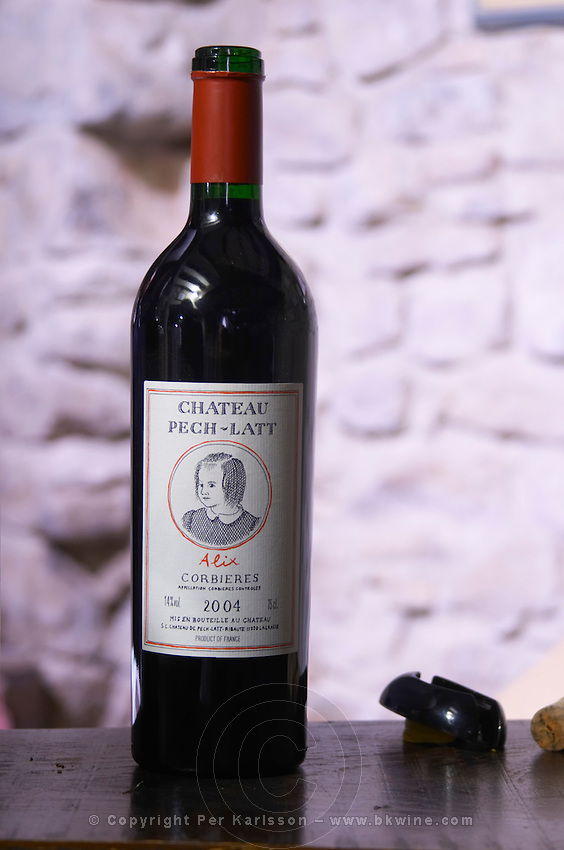 Red wine 2004 cuvee Alix. Chateau Pech-Latt. Near Ribaute. Les Corbieres. Languedoc. France. Europe. Bottle.