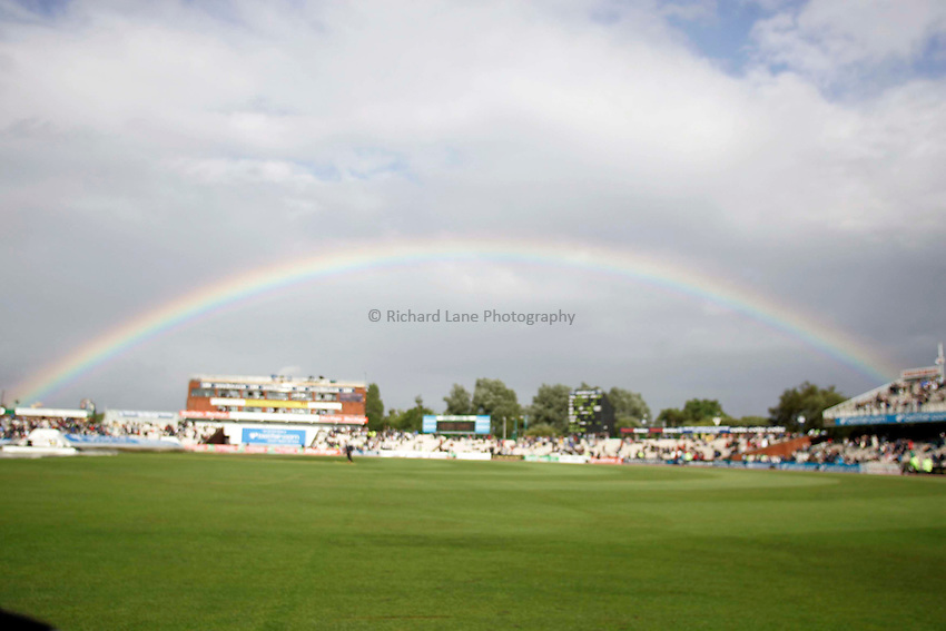 Photo: Peter Phillips..England v Australia. nPower Test Match Series, The Ashes 3rd Test. 13/08/2005..A spectacular rainbow over Old Trafford at 5.30pm this afternoon