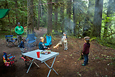 USA, Oregon, Santiam River, Brown Cannon, young boys playing in a campground near the Santiam River in the Willamete National Forest