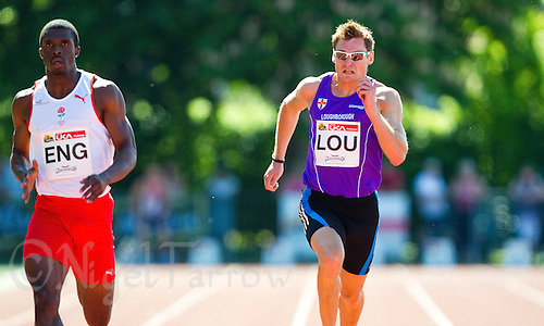 23 MAY 2010 - LOUGHBOROUGH, GBR - David Gillick (Loughborough University) (right) - Mens 200m - Loughborough International Athletics (PHOTO (C) NIGEL FARROW)