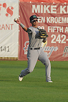 Beloit Snapers left fielder Jean Carolo Rodriguez (4) throws back to the infield during the game against the Clinton LumberKings at Ashford University Field on June 11, 2016 in Clinton, Iowa.  The LumberKings won 7-6.  (Dennis Hubbard/Four Seam Images)