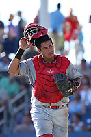 Melvin Novoa (1) of the Spokane Indians during a game against the Hillsboro Hops at Ron Tonkin Field on July 22, 2017 in Hillsboro, Oregon. Spokane defeated Hillsboro, 11-4. (Larry Goren/Four Seam Images)