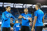 San Jose, CA - Saturday September 30, 2017: Chris Wondolowski, Anibal Godoy, Danny Hoesen during a Major League Soccer (MLS) match between the San Jose Earthquakes and the Portland Timbers at Avaya Stadium.