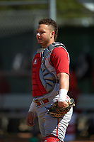 Indiana Hoosiers catcher Demetrius Webb (7) during practice before a game against the Illinois State Redbirds on March 4, 2016 at North Charlotte Regional Park in Port Charlotte, Florida.  Indiana defeated Illinois State 14-1.  (Mike Janes/Four Seam Images)
