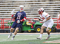 College Park, MD - May 13, 2018: Maryland Terrapins Mike Adler (50) defends Robert Morris Colonials Adrian Torok-Orban (21) during the NCAA first round game between Robert Morris and Maryland at  Capital One Field at Maryland Stadium in College Park, MD.  (Photo by Elliott Brown/Media Images International)