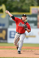 Birmingham Barons pitcher Nick McCully (31) delivers a pitch during a game against the Chattanooga Lookouts on April 24, 2014 at AT&T Field in Chattanooga, Tennessee.  Chattanooga defeated Birmingham 5-4.  (Mike Janes/Four Seam Images)