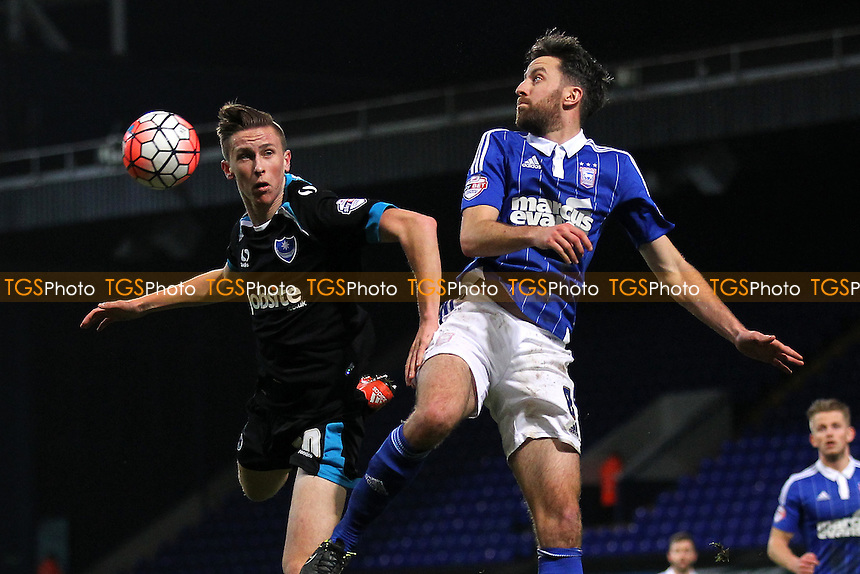 Cole Skuse of Ipswich Town rises with Adam May of Portsmouth during Ipswich Town vs Portsmouth at Portman Road