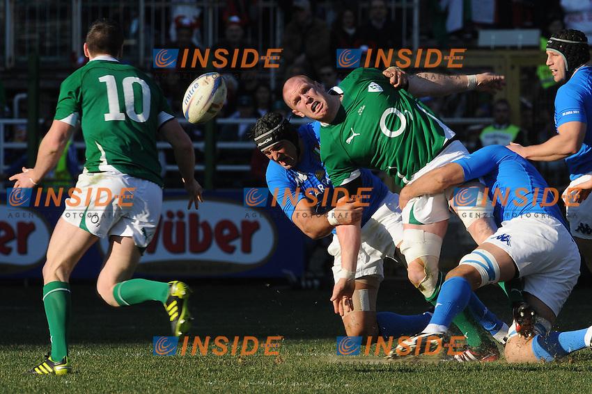 Paul O'Connell e Jonathan Sexton (Irlanda) <br /> Italia vs Irlanda 11-13<br /> Six Nations Rugby<br /> Stadio Flaminio, Roma, 05/02/2011<br /> Photo Antonietta Baldassarre Insidefoto