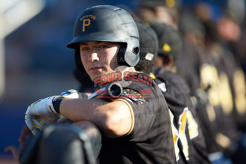 Bristol Pirates designated hitter Mason Martin (3) waits for his turn to bat during the game against the Danville Braves at American Legion Post 325 Field on July 1, 2018 in Danville, Virginia. The Braves defeated the Pirates 3-2 in 10 innings. (Brian Westerholt/Four Seam Images)