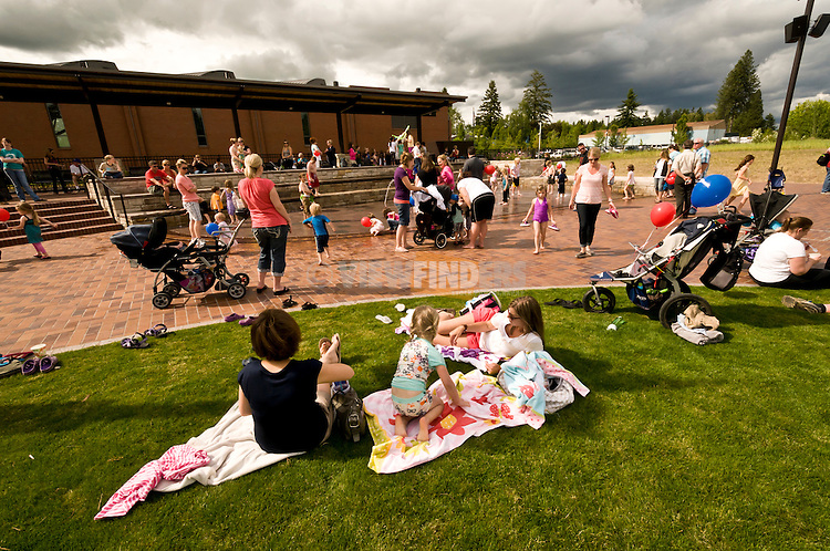 Families during opening day at Cannery Square.