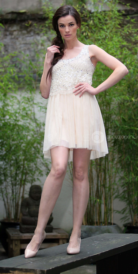 ***NO REPRODUCTION FEE PICTURE***.01/02/12 Model Karen Fitzpatrick wears a Cream Sequin Dress at EUR80  pictured at the Morrison Hotel, Dublin this morning at the launch of the A Wear Spring Collection 2012...Picture Colin Keegan, Collins, Dublin. .***NO REPRODUCTION FEE PICTURE***