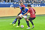 03.11.2018, Veltins-Arena, Gelsenkirchen, GER, 1. FBL, FC Schalke 04 vs. Hannover 96, DFL regulations prohibit any use of photographs as image sequences and/or quasi-video<br /> <br /> im Bild v. li. im Zweikampf Walace (#8, Hannover 96)  Breel Embolo (#36, FC Schalke 04) Miiko Albornoz (#3, Hannover 96) <br /> <br /> Foto © nordphoto/Mauelshagen