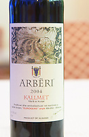 Bottle of Arberi 2004 Kallmet Eurogers Mirdite. Kallmet grape variety. Tirana capital. Albania, Balkan, Europe.