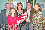 Baby Alannah Kate Casey, Faha, Killarney, pictured with her parents Annemarie and Padraig, sister Rachel, godparents Daniel Hickey and Marguerite Casey at her christening celebrations in Kate Kearneys Cottage, Beaufort on Saturday night.