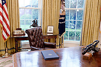 Executive Orders regarding trade lay on the Resolute desk in the Oval Office of the White House March 31, 2017 in Washington, DC. Photo Credit: Olivier Douliery/CNP/AdMedia