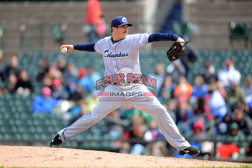 Columbus Clippers relief pitcher Matt Langwell #41 during a game against the Rochester Red Wings on May 12, 2013 at Frontier Field in Rochester, New York.  Rochester defeated Columbus 5-4.  (Mike Janes/Four Seam Images)