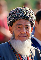 Man in traditional costume and Astrakhan hat  in the City of Mary, Turkmenistan