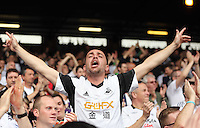 Pictured: A Swansea supporter cheers on<br />