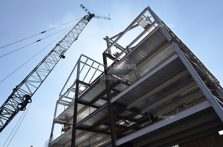 East Elevation Steel Work with Erection Crane. Central Connecticut State University. New Academic Building. Project No: BI-RC-324. Architect: Burt Hill Kosar Rittelmann Associates. Contractor: Gilbane, Inc.
