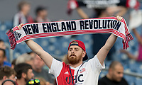 FOXBOROUGH, MA - JUNE 29: New England Revolution fan during a game between Houston Dynamo and New England Revolution at Gillette Stadium on June 29, 2019 in Foxborough, Massachusetts.