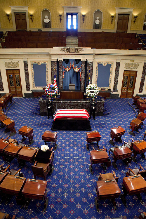 The late Sen. Robert Byrd, D-V.W., lies in repose in the Senate chamber of the US Capitol In Washington, Thursday, July 1, 2010. (AP Photo/Stephen Crowley, Pool)