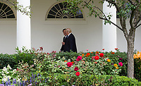United States President Donald J. Trump and President Juan Carlos Varela of Panama walk along the Colonnade to the Oval Office of the White House in Washington, DC prior to their meeting on June 19, 2017. <br /> Credit: Molly Riley / Pool via CNP /MediaPunch