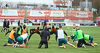 2nd February 2020; New Douglas Park, Hamilton, South Lanarkshire, Scotland; Scottish Premiership, Hamilton Academical versus Celtic; Celtic players warm up on the pitch