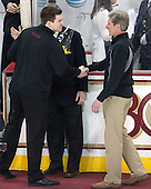 Kevin Pratt (BC - Student Manager), Brad Bates (BC - AD) - The visiting University of Notre Dame Fighting Irish defeated the Boston College Eagles 2-1 in overtime on Saturday, March 1, 2014, at Kelley Rink in Conte Forum in Chestnut Hill, Massachusetts.